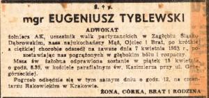 nekrolog gienia tyblewskiego